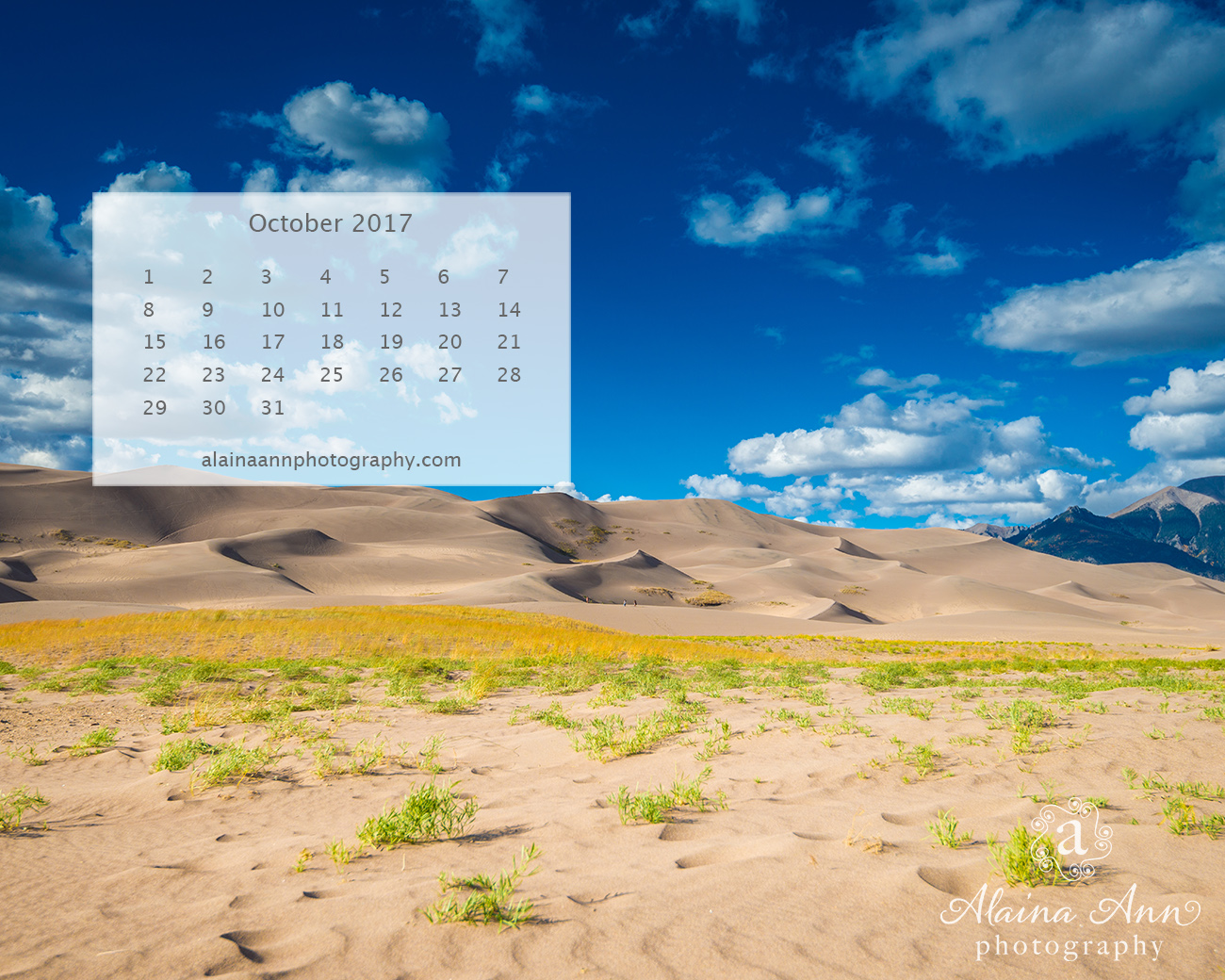 October 2017 Wallpaper Calendar | Alaina Ann Photography