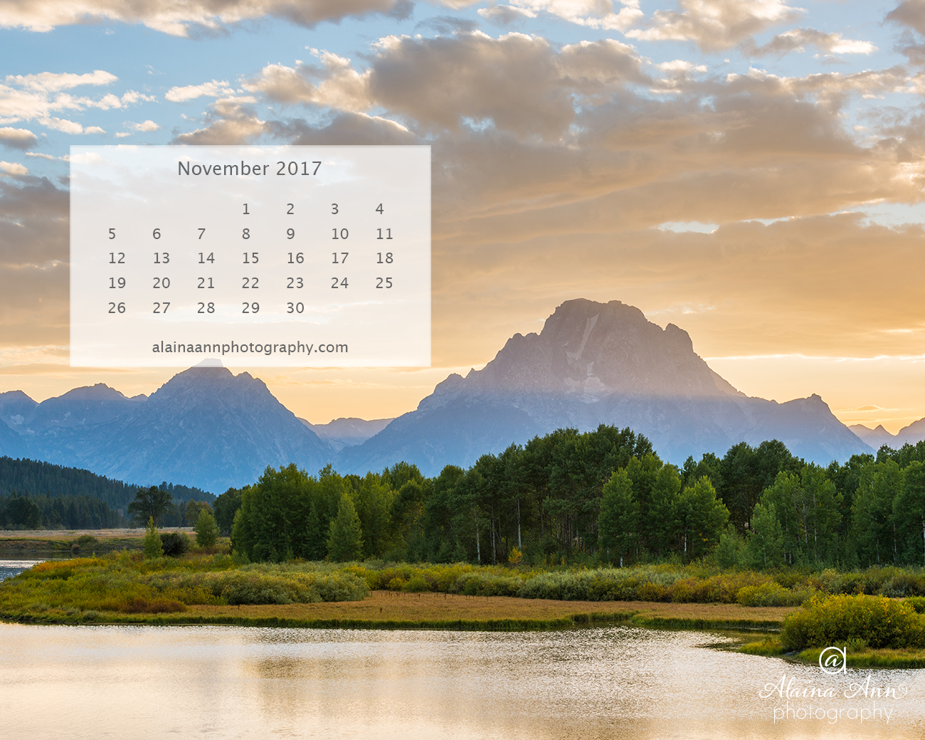 November 2017 Wallpaper Calendar | Alaina Ann Photography
