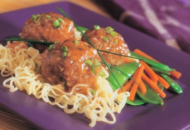 You've got a question – what's for dinner? We've got the answer: Asian #Veal Meatballs with Noodles. All it takes is 20 minutes of #mealprep and 25 minutes in the oven – take that time to pour a glass of wine and pat yourself on the back for a dinner well done. #EatBetterEatVeal https://vealmadeeasy.com/recipes/asian-veal-meatballs-with-noodles/ #meatballs #asianinspiredrecipe #recipe #foodie #noodles #weeknightdinner #easydinnerideas #foodstagram