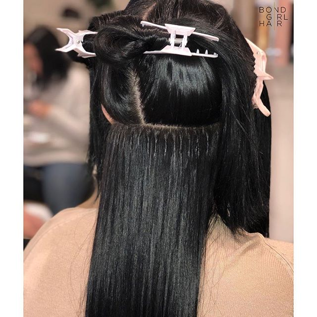 Individual Bonded Extensions, a.k.a Fusions a.k.a Keratin Extensions🖤 So many pros to this method such as 🖤 discreet & natural looking when installed correctly 🖤low maintenance, lasting 3-4 months straight 🖤 flexible & undetectable in any hairstyle 🖤 size of bonds are customizable so the finer the hair the finer the bond #bondgirlhair . . . 🖤swipe to see the before & After . . . @modernsalon @behindthechair_com @imallaboutdahair @gbbhair #extensionspecialist #beforeandafter #hairextensions #hair #extensions #tapeextensions #fusions #fusionextensions #longhairdontcare #hairgoals #goals #torontohair #torontoextensions #torontohairextensions #hairextensionstoronto #extensionstoronto #behindthechair #modernsalon #imallaboutdahair  #hairstyles #beauty #hairspo  #longhair #makeover #transformation #brunette #darkhair