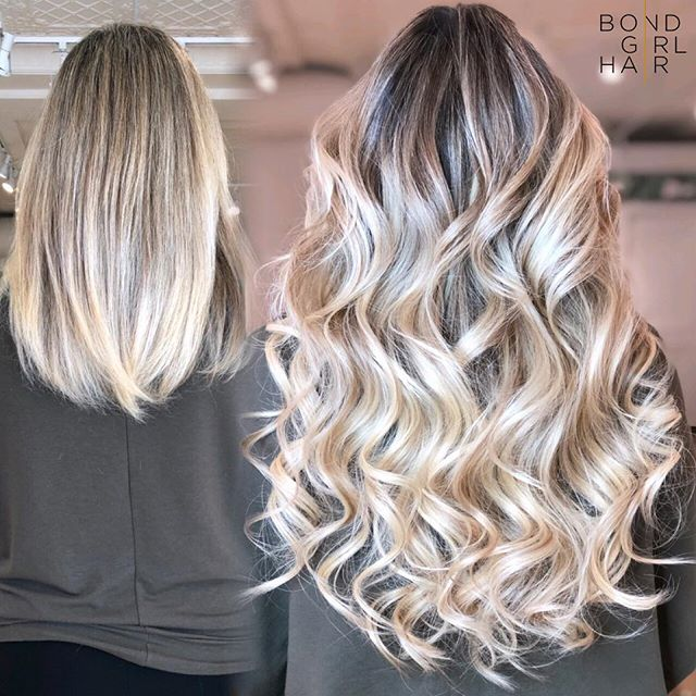 """Can we take a moment to admire this gorgeous head of hair 😍 20"""" Individual Bonds #bondgirlhair . . ❤️ Colour by our girl @chidiephair. ❤️ Extensions, cut/blend & Style @bondgirl_hair . . @behindthechair_com @modernsalon @imallaboutdahair #hairextensions #torontohairextensions #extensionspecialist #hairextensionstoronto #torontohair #longhairdontcare #fusionextensions #bonds #individualbonds #beforeandafter #makeover #transformation #beauty #hair #hairgoals #modernsalon #behindthechair #imallaboutdahair #extensions #hairlove #blonde #blondehair"""