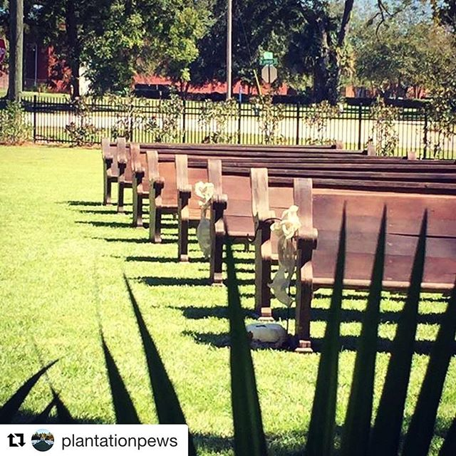 @plantationpews  We always get excited when the church pews arrive! ・・・ Have a seat! #plantationpews #thomasvillega #wedding #southerncharm #southernwedding