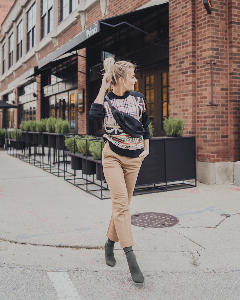 Monika Dixon of Monika Dixon Public Relations wearing rag and bone crop pants, Burberry sweater, and Tony Bianco booties