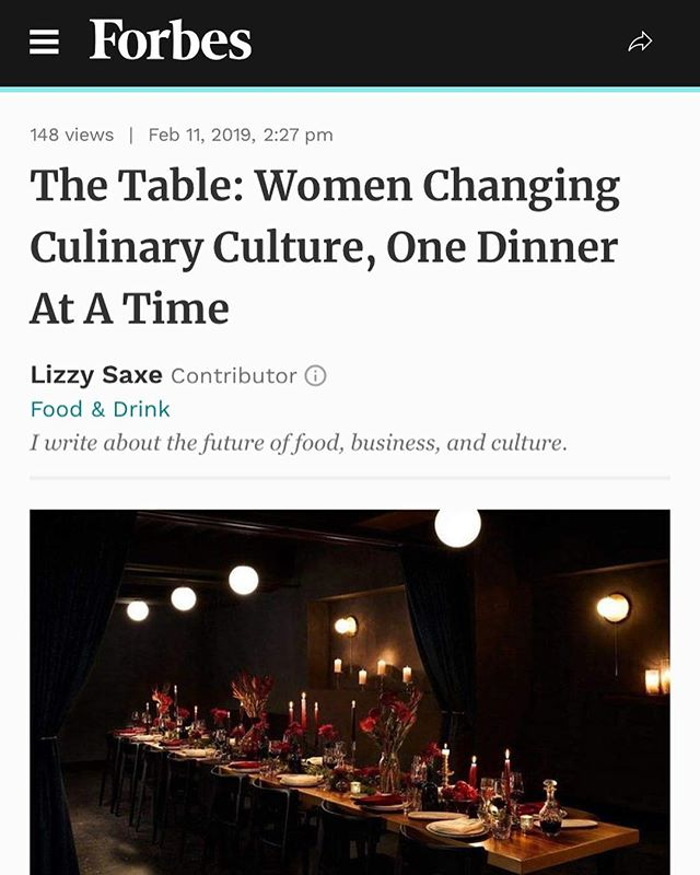 Last night marked the launch of @the.table at @theleroyroom, an organization and community paving the way towards opportunity and exposure for womxn in the food industry, created by @bybreanne  and @adrianaurbinap. Thank you to all the incredible womxn involved, from dishwashers to chefs, and the amazing sponsors @yolamezcal @theowlsbrew @parcellewine and @animamundiherbals. And a special thanks to @thegirlwiththegarlictattoo for this amazing feature on @forbes ✨ Link in bio for the story!