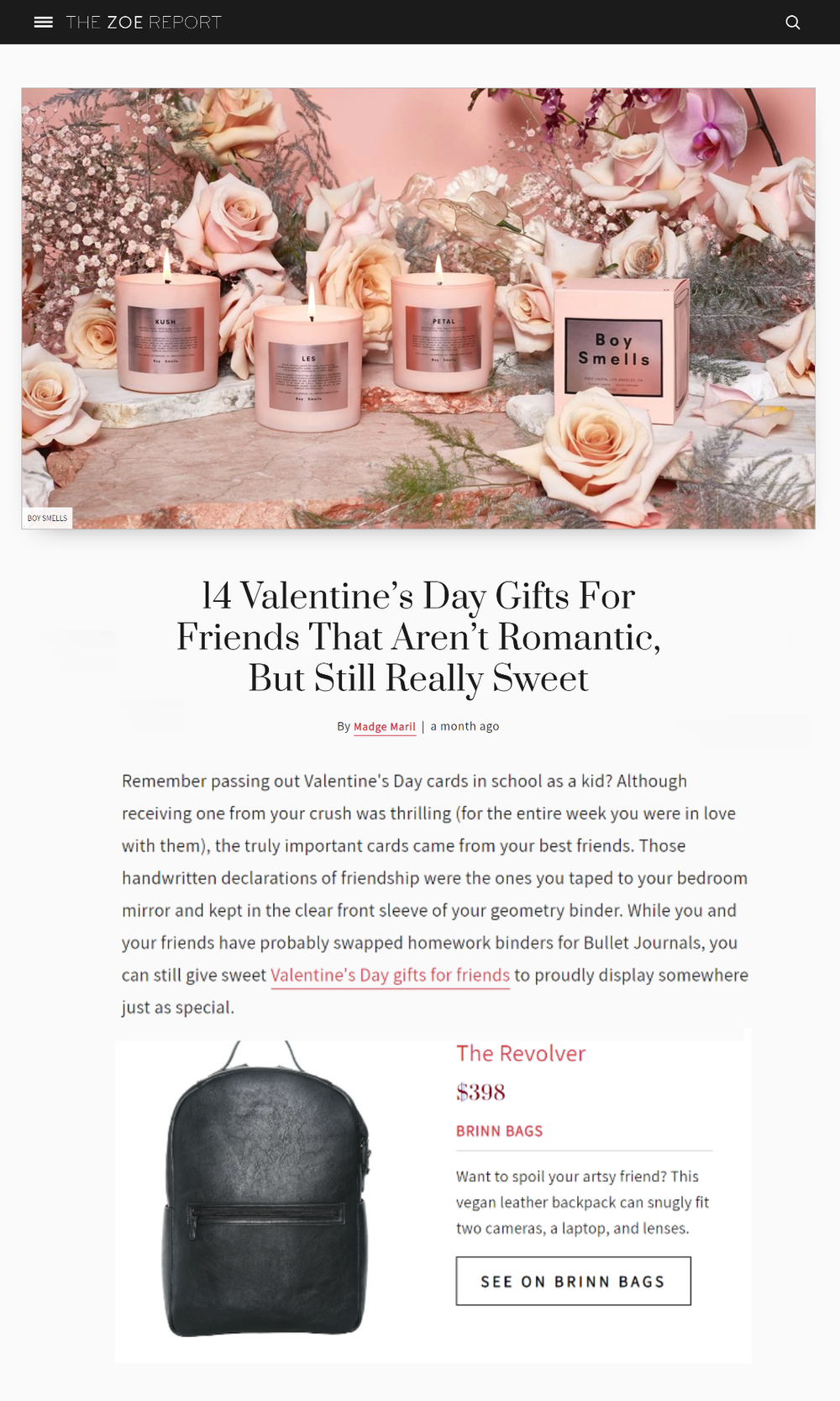The Zoe Report Valentine's Gift Guide Featuring Brinn Vegan Leather Backpacks