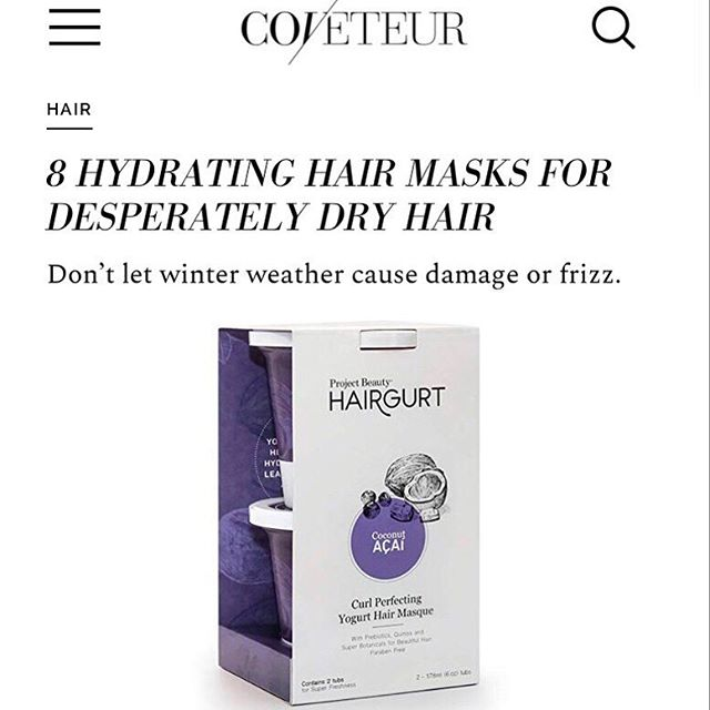Great minds think alike 🧠 @coveteur has the cure for your post-polar vortex hair woes: the @myprojectbeauty #Hairgurt Coconut Açaí hair masque 🥥