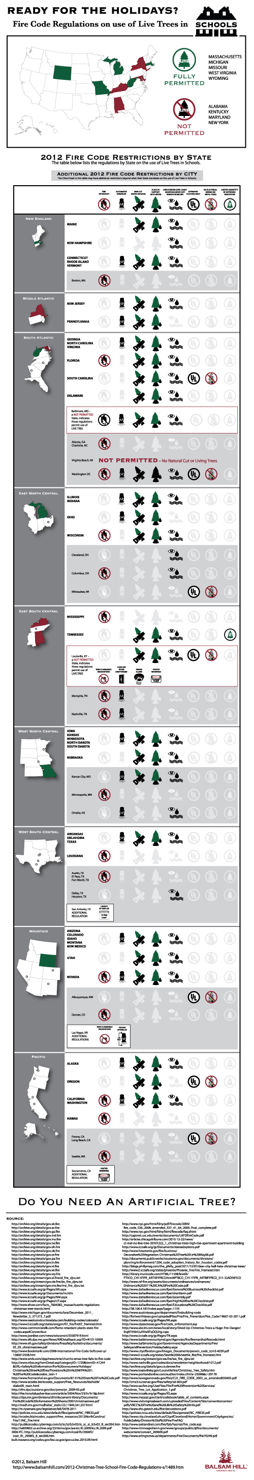 Fire Code Regulations for Live Christmas Trees in Schools infographic