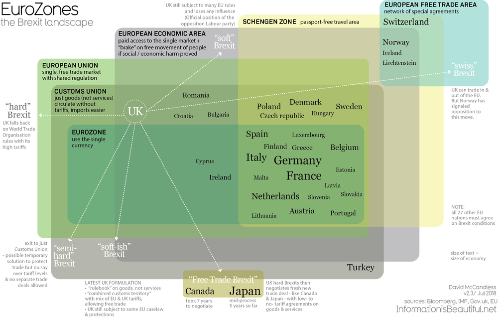 The UK's Brexit Options in the EuroZone Visualized infographic