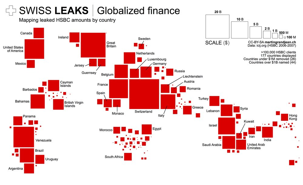 SwissLeaks: the map of the globalized tax evasion infographic