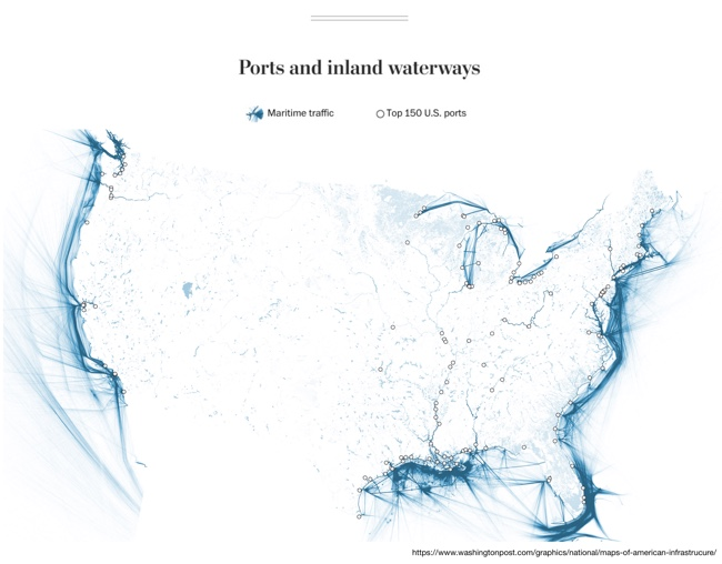 Six Maps that Show America's Infrastructure: Ports and inland waterways