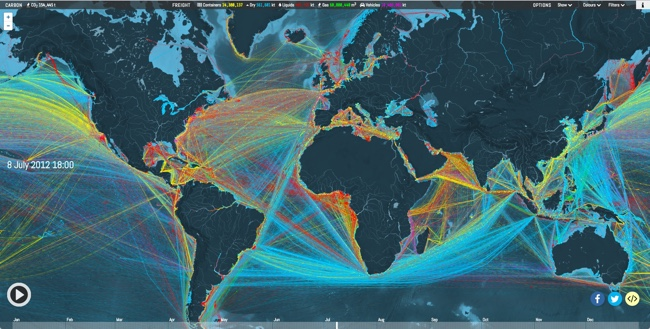 Animated and Interactive Global Shipping Visualization