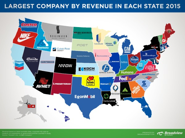 Largest Company by Revenue in Each State 2015 infographic