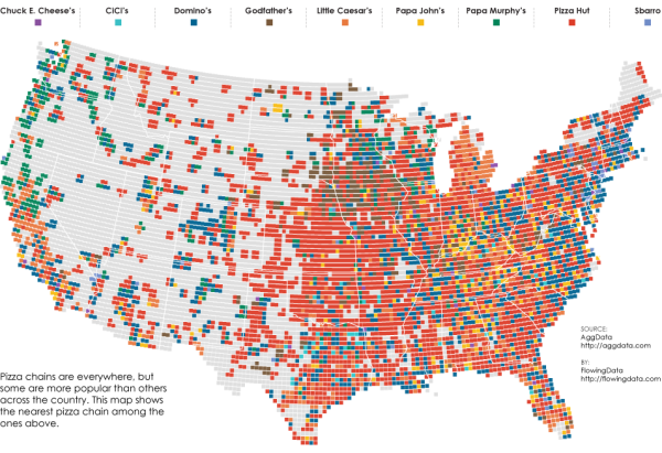 Most Popular Pizza Chains Map Visualization infographic