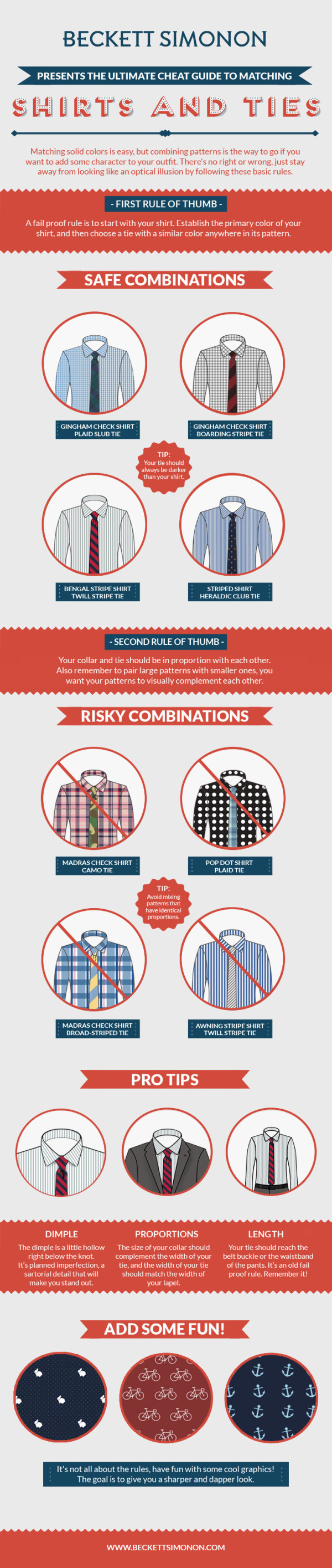 How to Match Shirt and Tie Patterns infographic