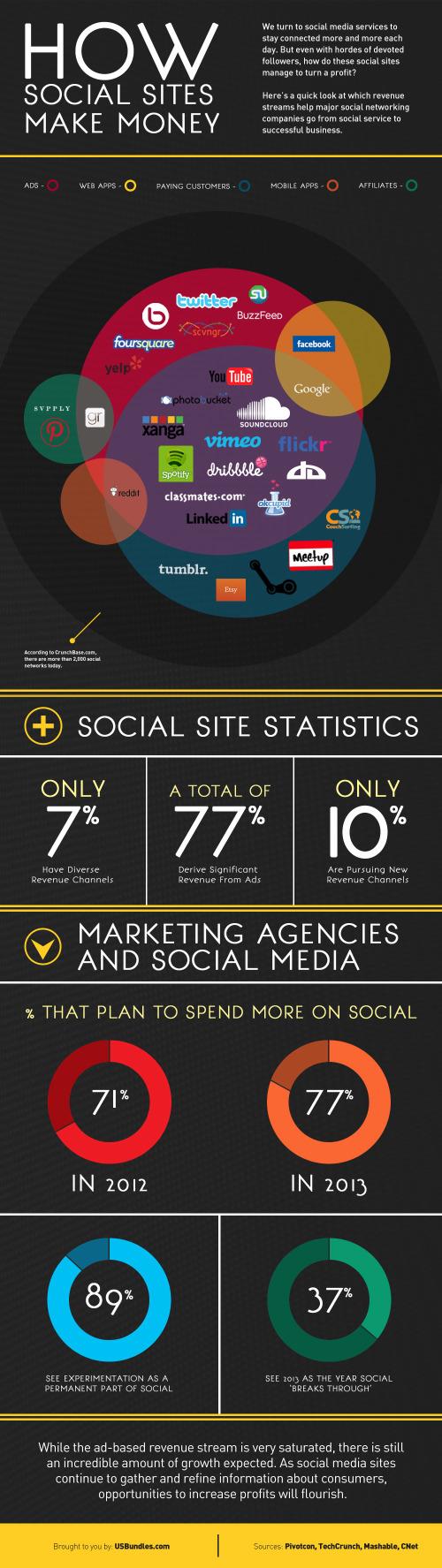How Social Sites Make Money infographic