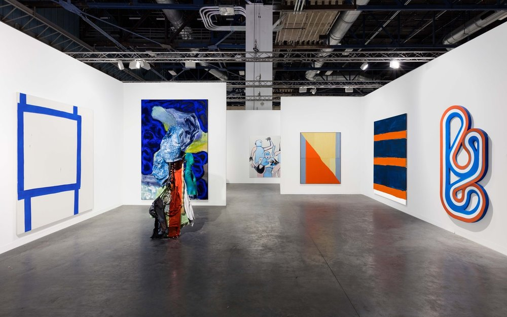 Installation view of Peres Projects Booth at ABMB. Brent Wadden, Blair Thurman, Beth Letain, Donna Huanca, Melike Kara. Photo courtesy of Peres Projects, Berlin.