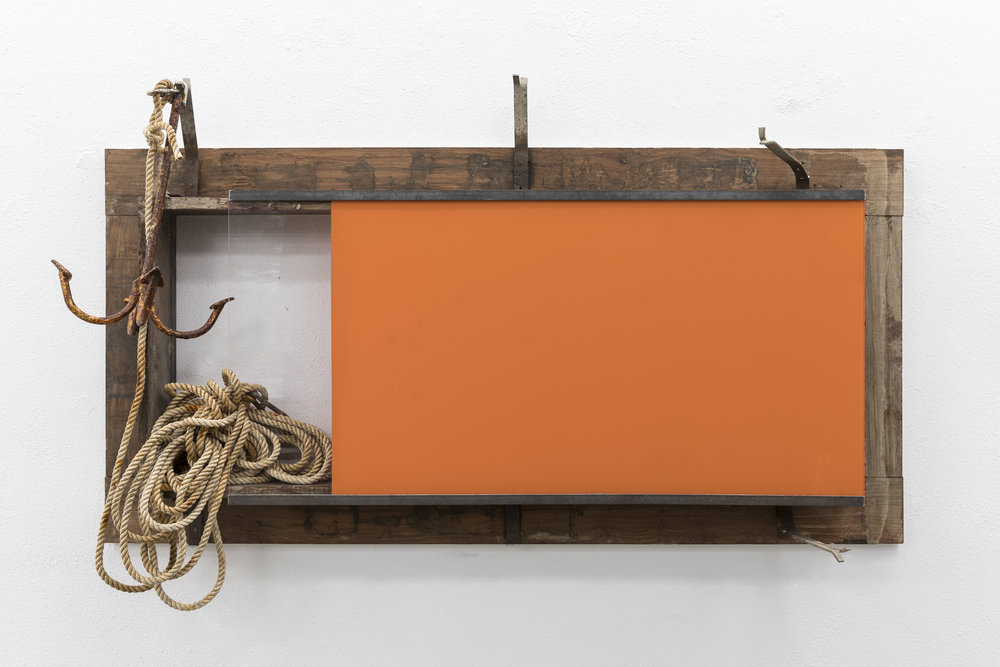 "Pedro Cabrita Reis,  Still Life with anchor and rope, 2017 , enamel on plexiglas, found door frame, found anchor and rope, 49"" x 78 3/4"" x 15 3/8"". Photo courtesy of Peter Freeman Gallery."