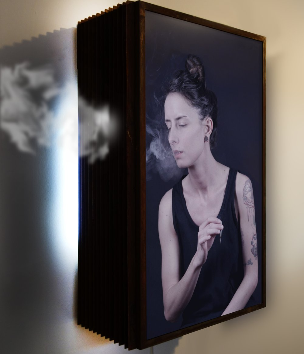 """Marck, """"Art student """", 2014. LCD panel, cns iron, humidifier, 3 +1 EA. Photo courtesy of the writer."""