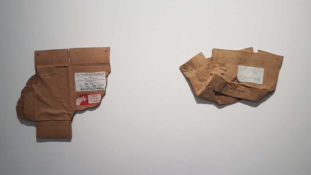 Robert Rauschenberg, Tempo Clay Piece 1 & Piece 4, 1972, fired clay with screen printed decal, soil patina and platium luster. Photo credit to the writer.