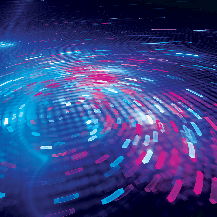 Blue and purple lights representing digital information