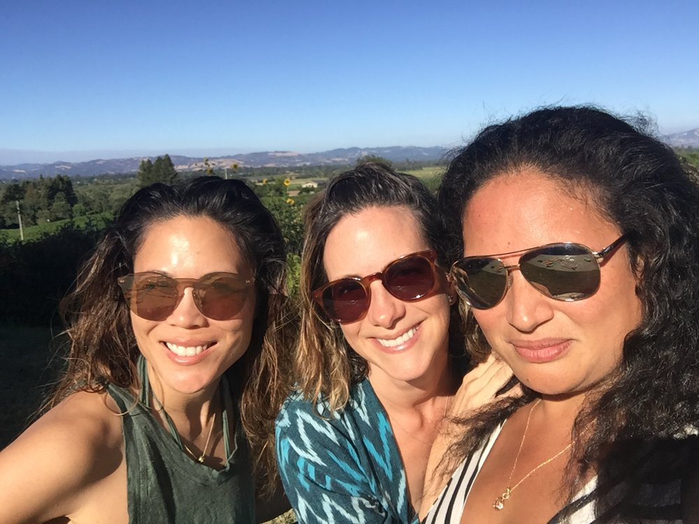 Leslie with best friends Leilengoa and Maya in Sonoma after a day hanging at the pool