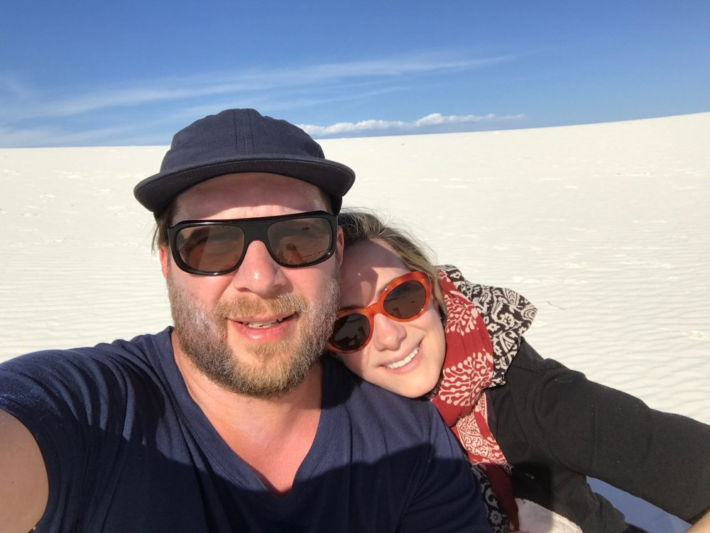 Jason and Leslie visiting White Sands National Monument in New Mexico—crossed off our bucket list!
