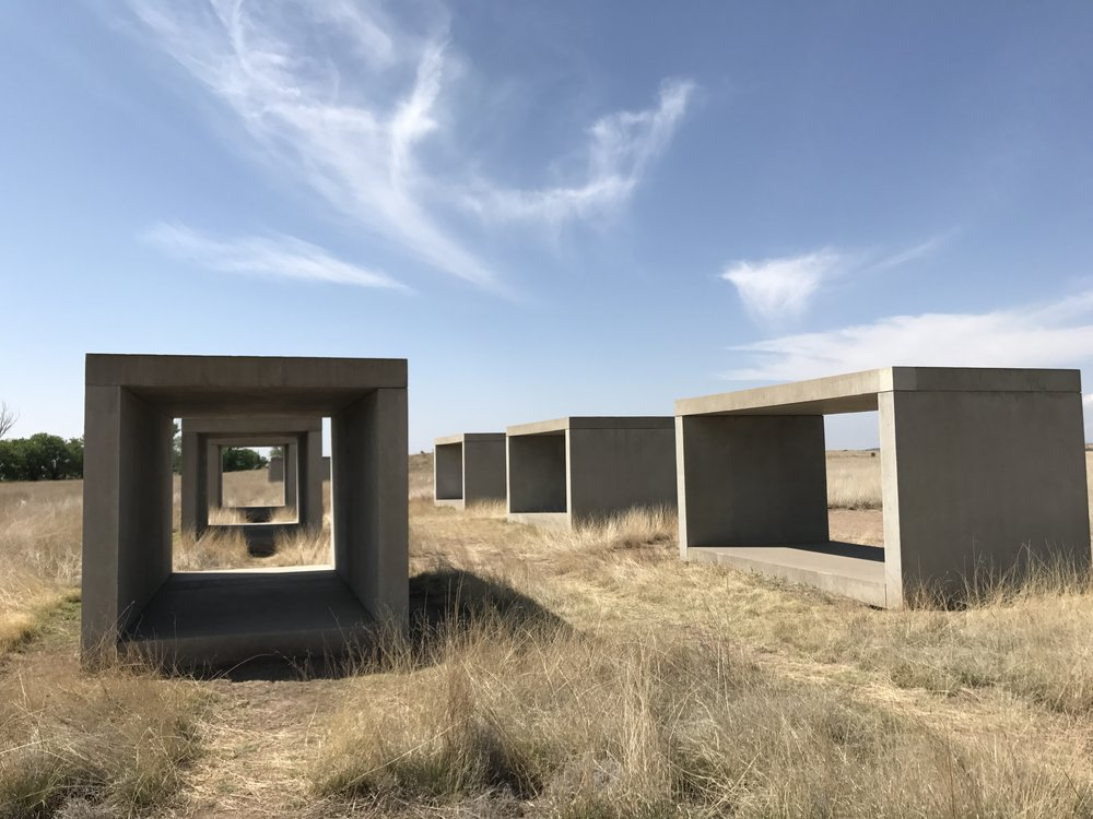 Checking out the art in at the Chinati Foundation Marfa Texas