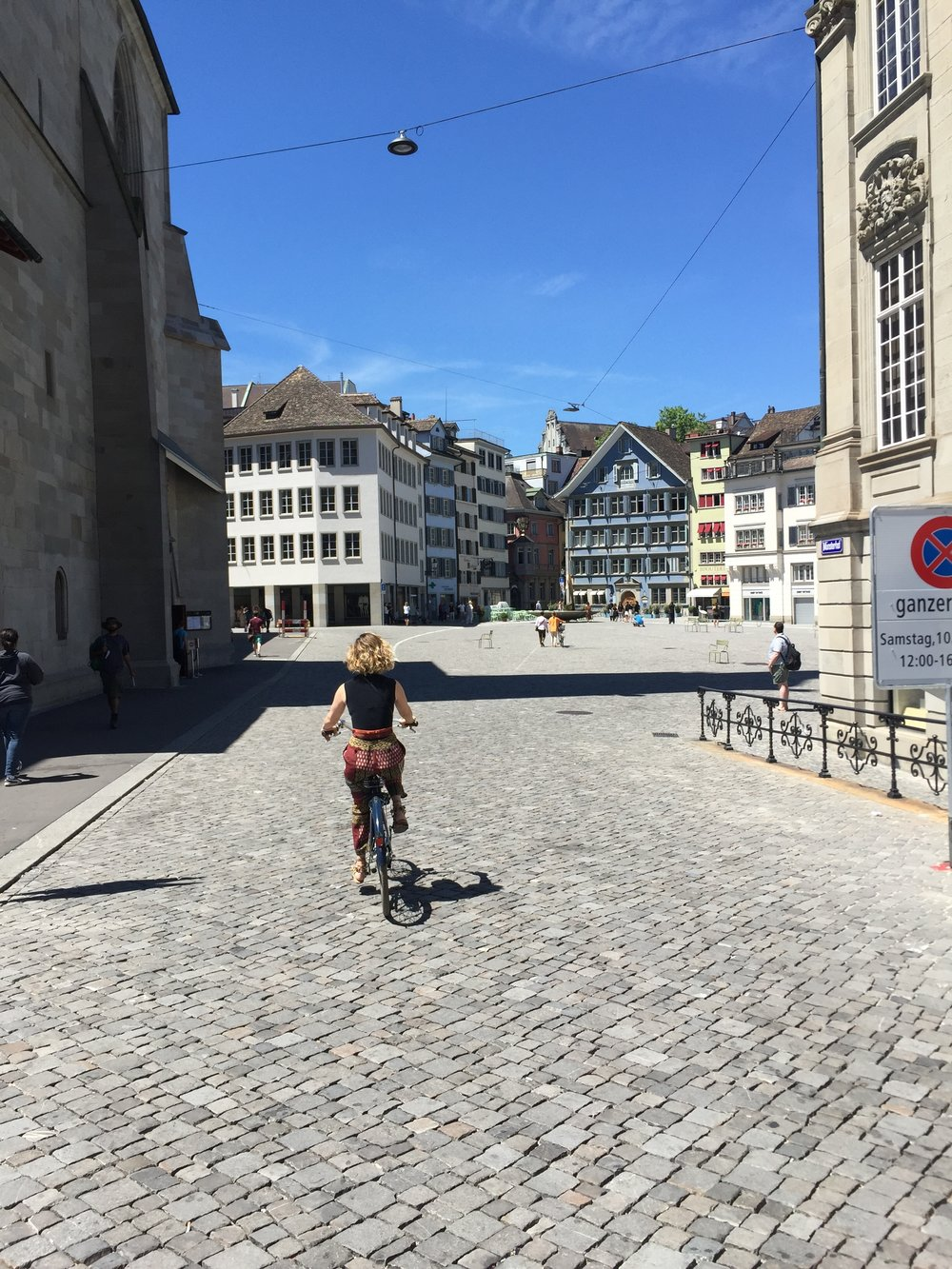 Leslie bike riding in Zurich, Switzerland—the best way to see a city!