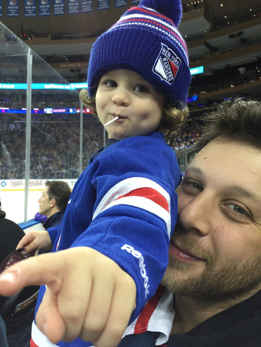 Jason and Silas at the Rangers game at Madison Square Garden