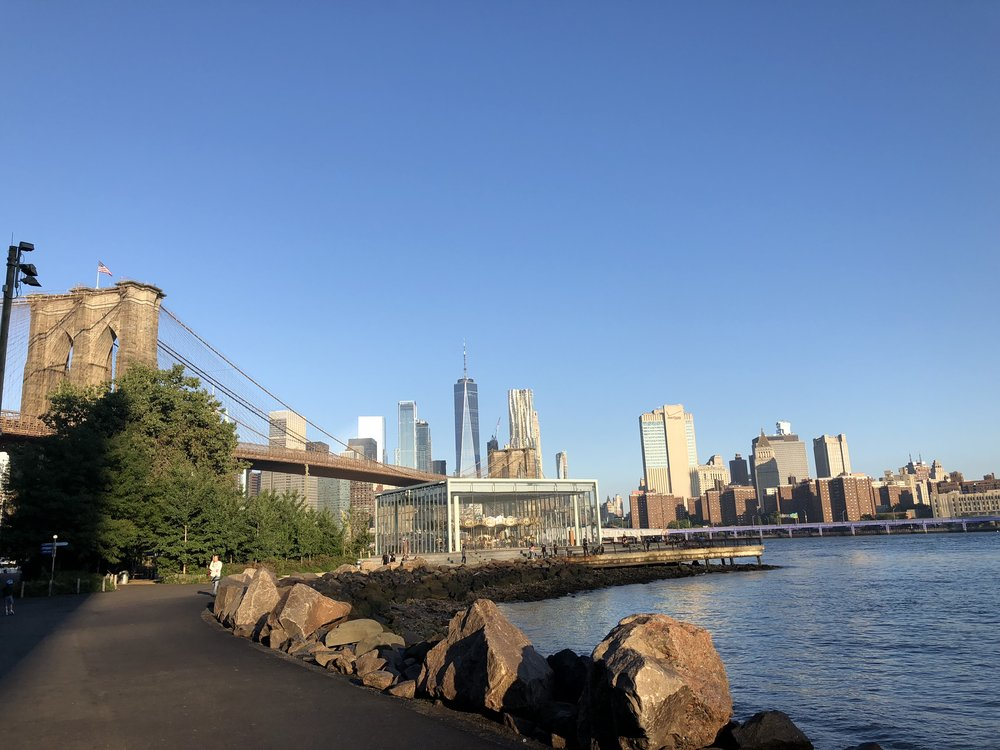 Brooklyn Bridge park on the water. We love to go to the carousel!