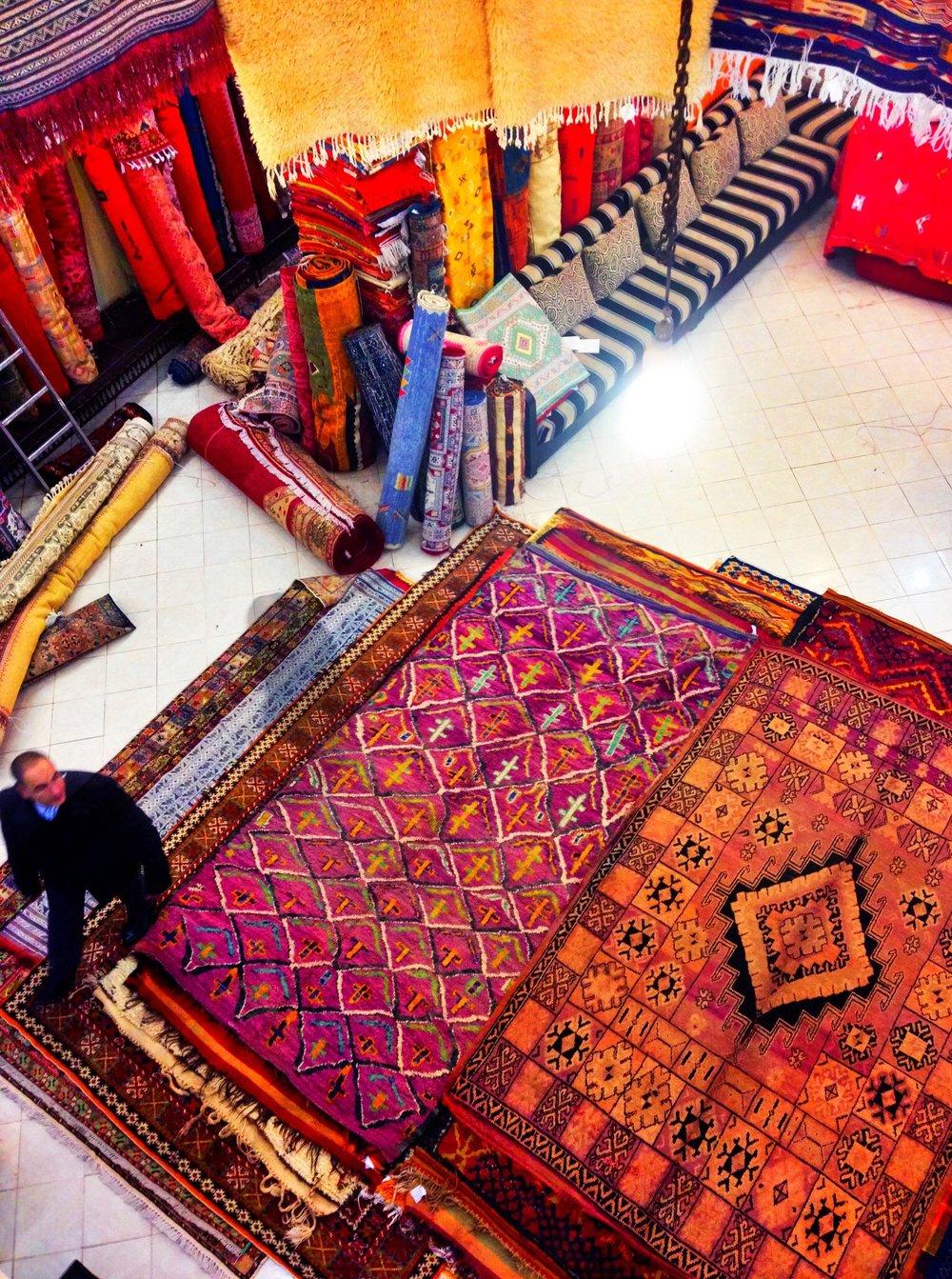 Rug shopping in Marrakesh, Morocco