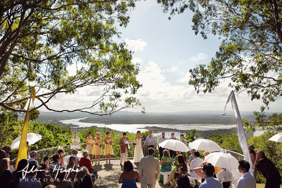Laguna Lookout - On top of Noosa Hill with views over Main Beach, the river and Hinterland. Access by car via Viewland Drive.Ceremonies need to be registered with Noosa National Park. Council will happily take a booking fee even though it's not their jurisdiction!