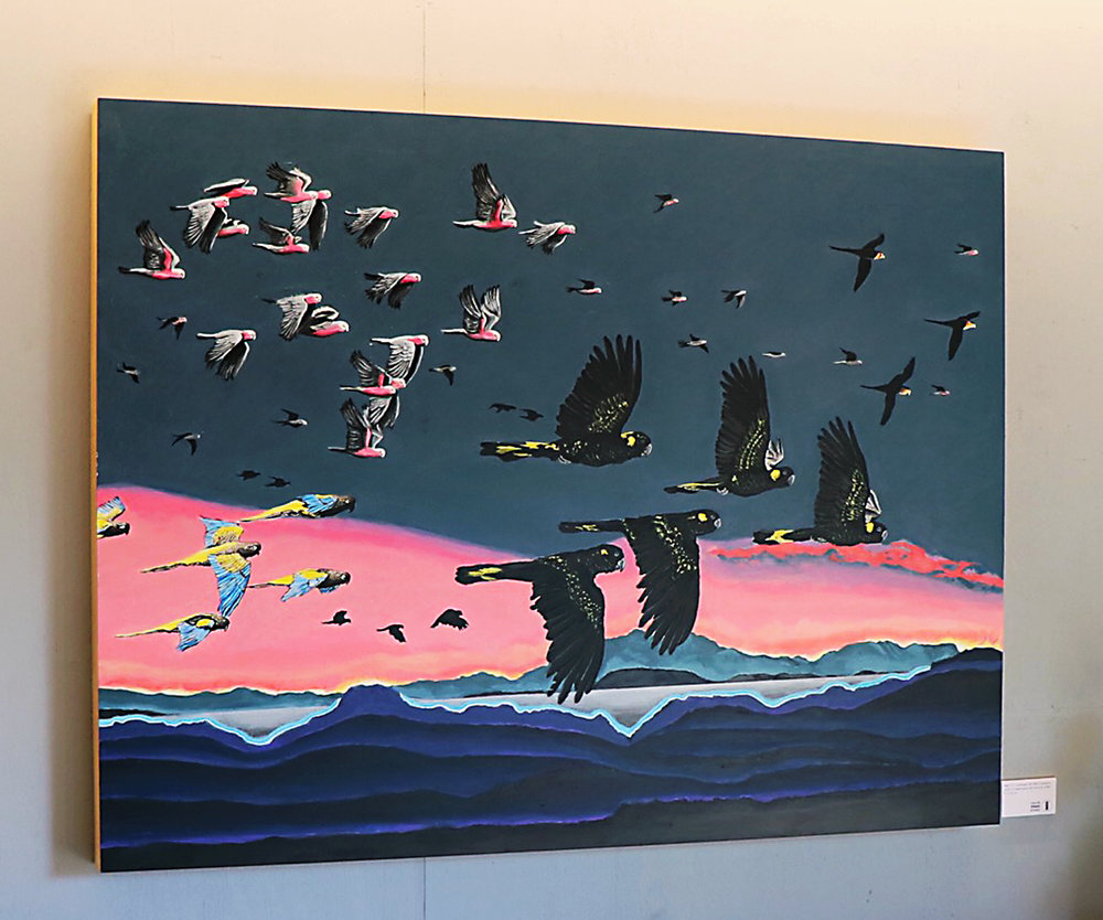 Flight III: Landscape with Black Cockatoos