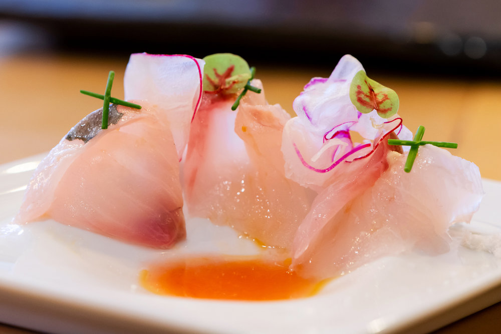 shima aji (striped horse mackerel) crudo