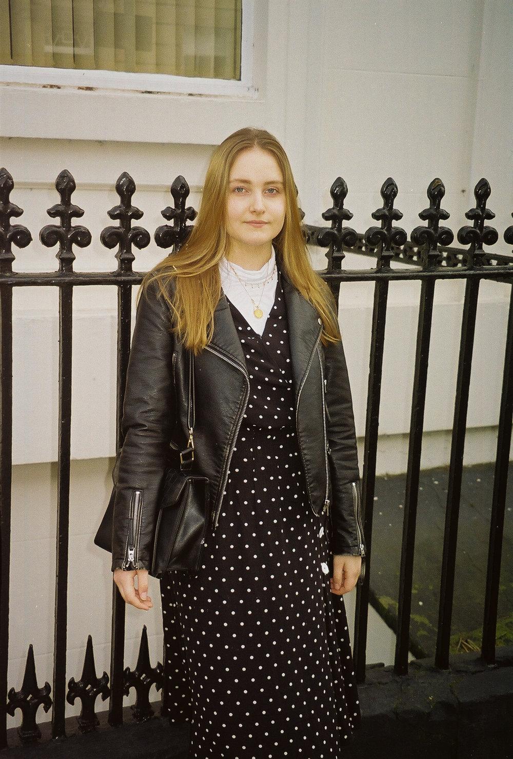 film photography fashion polka dot dress