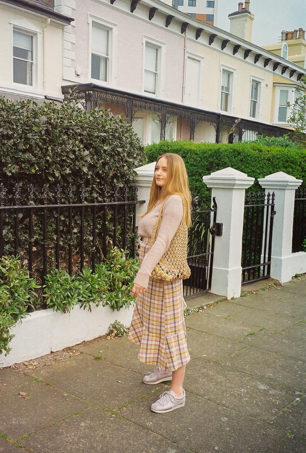 check pastel skirt picnic blanket spring style