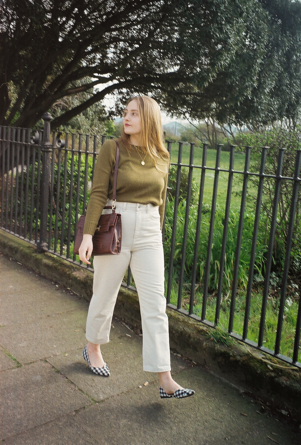 cream jeans and gingham flats
