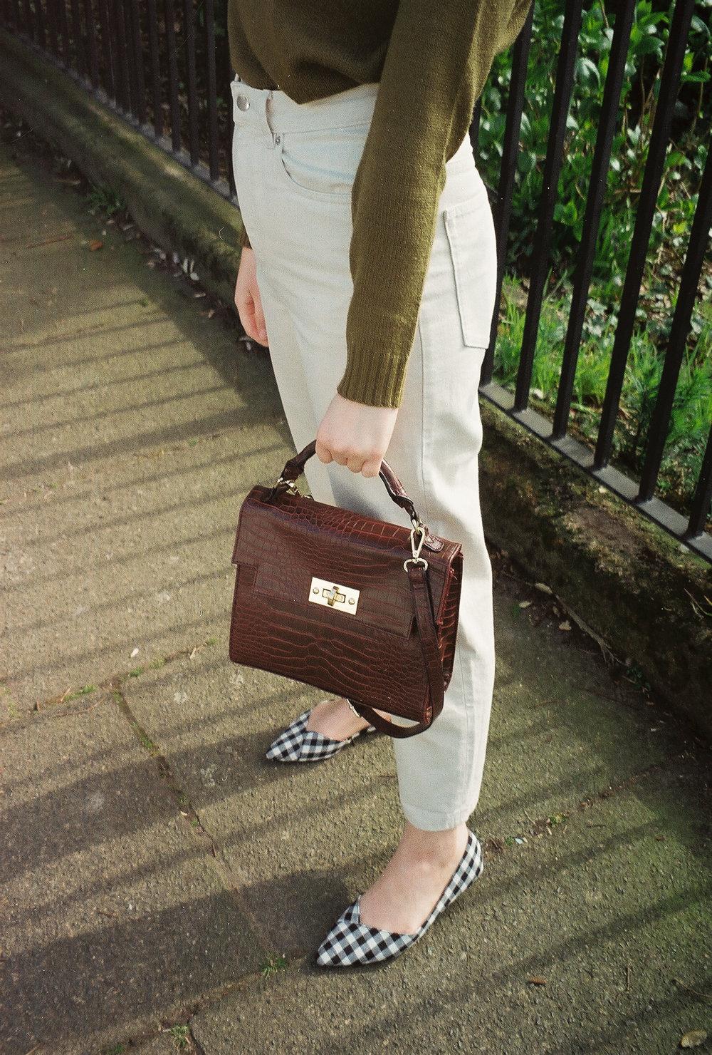 burgundy satchel crop bag cream jeans