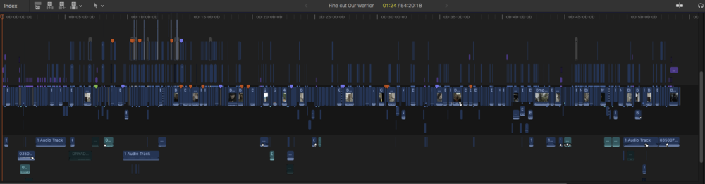The FCPX edit timeline at first assembly October 2018