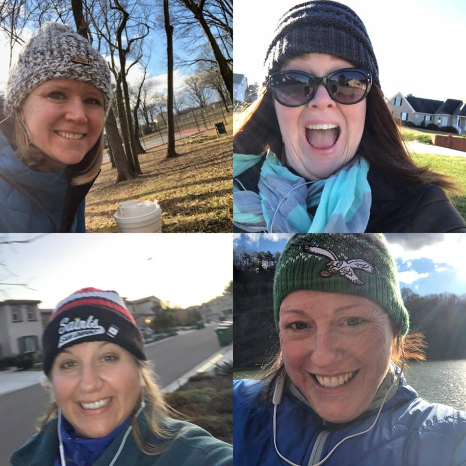 Walking. With friends from California, Maryland and Tennessee and I'm in Virginia. Another 2 miles logged on my tracking sheet! There is NO way I would have ventured out in this cold, windy weather by myself to walk. Thank you#99Walks for motivating me to get it done!  - Jamie rocked her miles with her team!