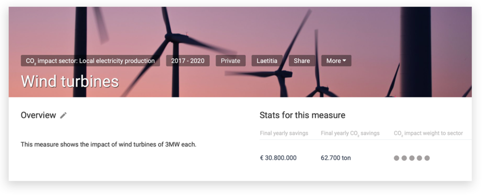 - Easily develop your city's climate plan. Add relevant measures and actions from a predefined list and adapt them to your city's goals. Immediately see the impact on CO2 emissions and cost savings.💡Our tipNeed some guidance? Focus on the measures with the biggest impact ('weight' in the overview).