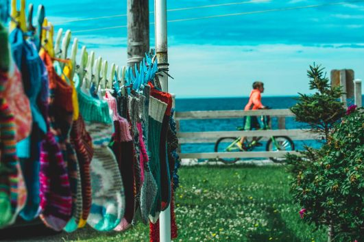Clothesline with knitted goods