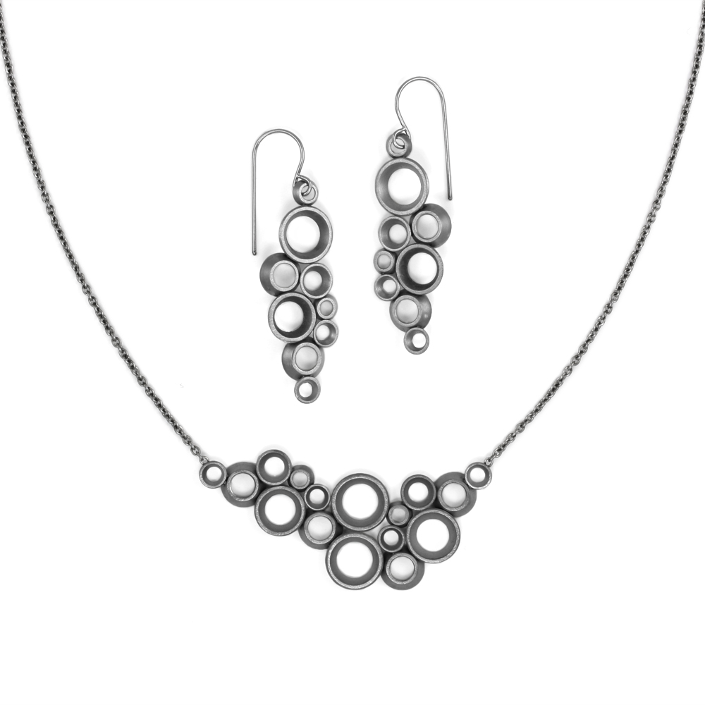 """concave~convex """"prime"""" earrings and necklace"""