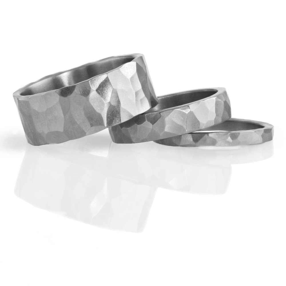 'faceted' stainless steel ring