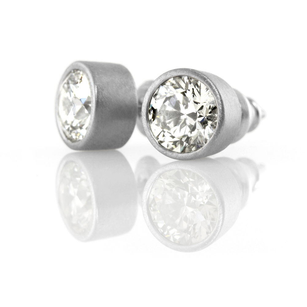 palladium post earrings