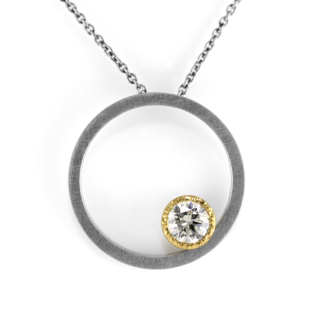 eclipse bezel-set necklace