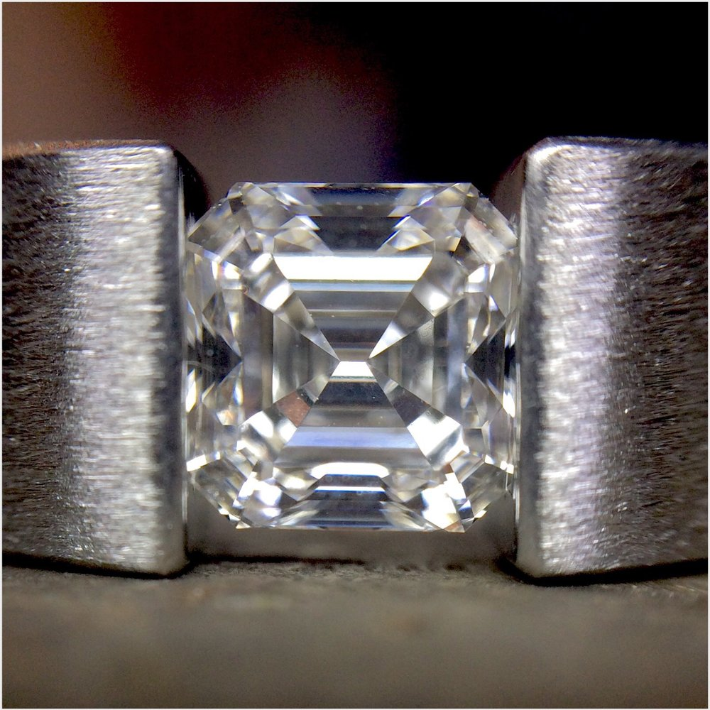 asscher-cut diamond in 'the one' tension-setting