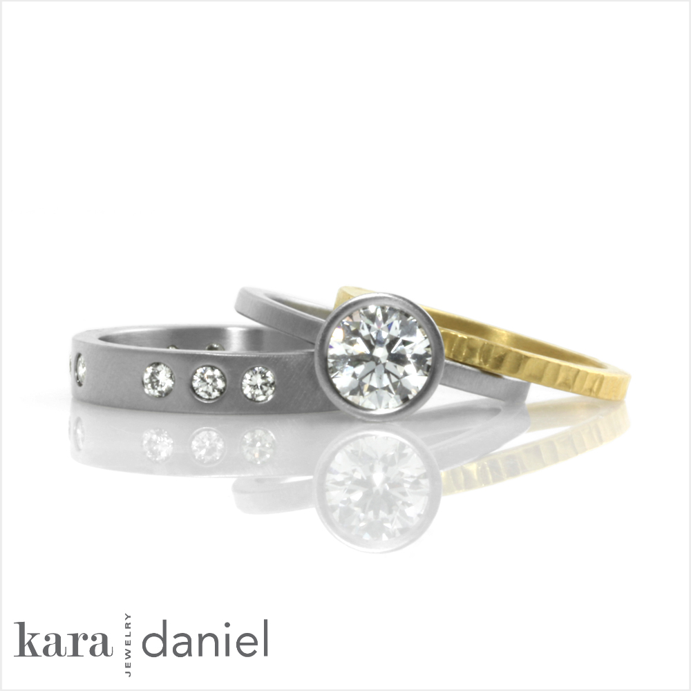ethical engagement ring & stack ring accents