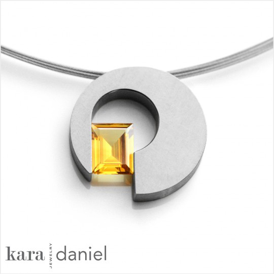 after: vintage yellow topaz in stainless steel pendant