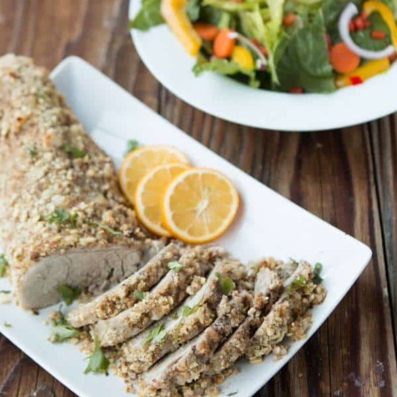 Healthy Almond Crusted Pork Tenderloin - Almonds provide healthy fats, fibers, and proteins. They also taste dynamite on pork! Marinate tenderloin, roll in almond mixture, bake, and serve! Makes a delicious, low cholesterol meal!Get the recipe>>
